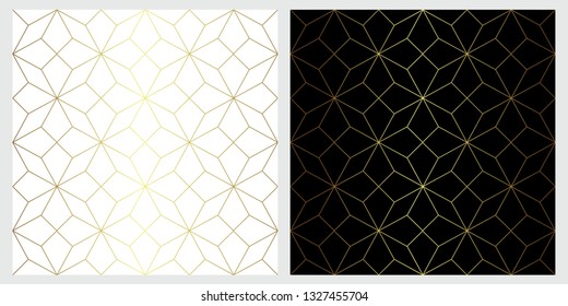 Star vector seamless pattern with geometric golden line