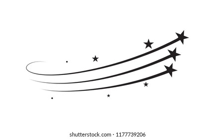 Star vector trail comet trace black lines on white background. Vector icon for Christmas or New Year celebration design