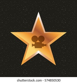 star with video recorder icon over background. colorful design. vector illustration