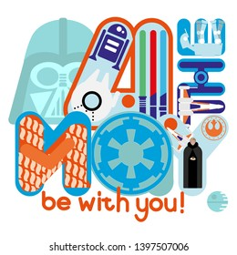 Star Wars celebration poster with Darth Vader and Luke Skywalker, R2D2, cartoon flat style, blue letters, may the 4th be with you colourful illustration, flat design.