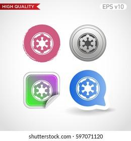 Star wars icon. Button with star wars icon. Modern UI vector.