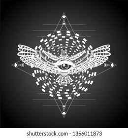 Star and wheel of samsara with flying bird and all seeing eye. To be use for emblem. White mandala on the black background. Boho chic. Vintage print for t shirt.