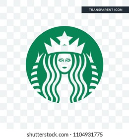 starbucks vector icon isolated on transparent background, starbucks logo concept