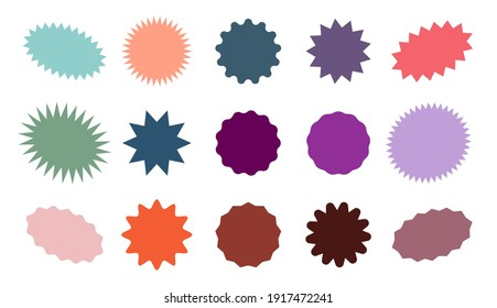Starburst colorful tag. Star burst badge vignette. Vector simple pink red green blue round collection