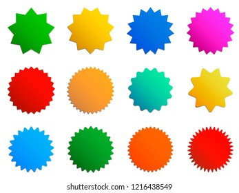 Starburst gradient badges. Blank vector starry insignia for text. Sunburst vintage labels or stickers. Color elements isolated on white background. Stars on price tag for discounts and special offers.
