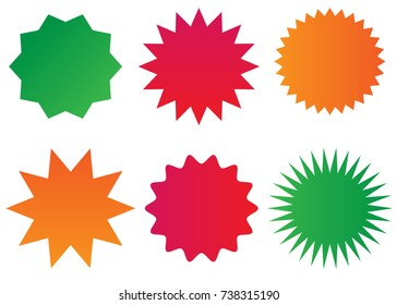 Starburst isolated icons set (sunburst badges).
