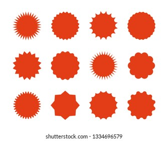 Starburst price stickers. Star sale banners, red explosion signs, sunburst speech bubbles. Vector set red silhouettes on white backgrounds
