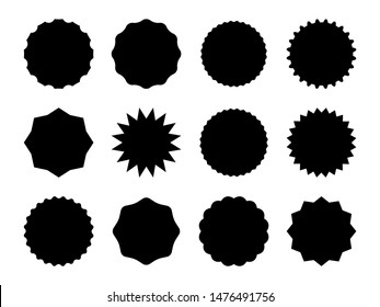 Starburst promo badges. Black sale star sticker price tag, vintage labels. Blank badges for advertising marketing campaign vector burst shape special stieker set