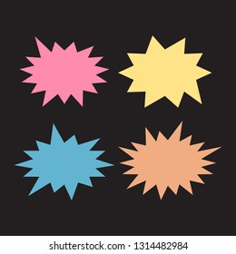Starburst speech bubbles set. Bursting icon. Starburst isolated icons set