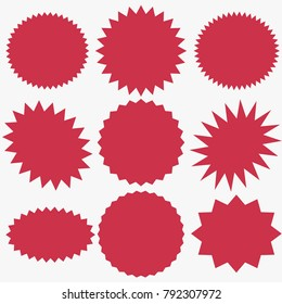 Starburst speech bubbles set, Bursting icon, Explosion illustration, star sticker vector