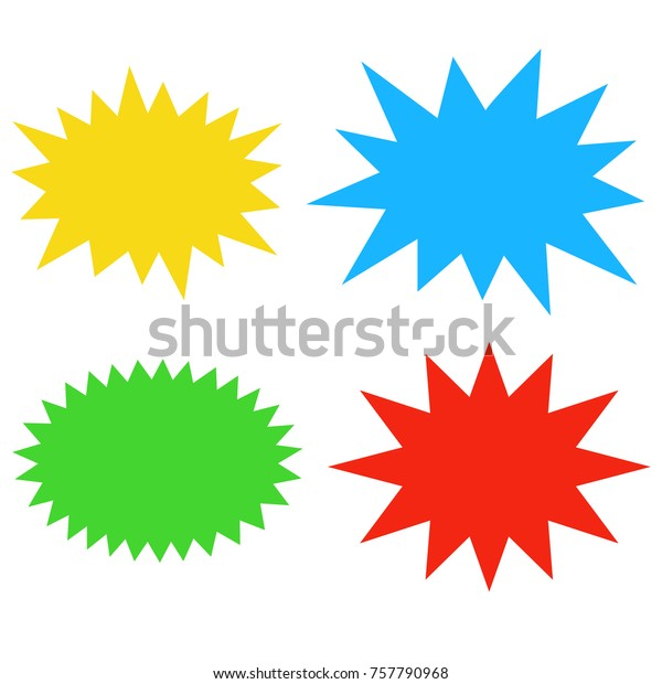 Starburst speech bubbles set, Bursting icon, Explosion illustration, star sticker vector
