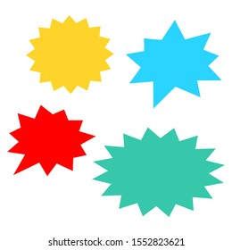 starburst speech bubbles set with different color bursting shape isolated on white background. vector illustration
