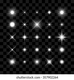 Starburst, stars and sparkles burst glowing light effect on transparent background. Transparent star.