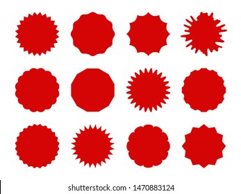 Starburst stickers. Star shaped sale banners, speech bubble stickers. Red explosion signs, promo price coupon tag vector isolated burst shapes and silhouettes for offering, simple pricetag set
