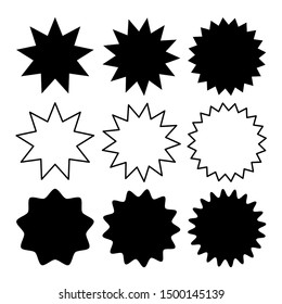 starburst and sunburst icon set with different flat style for label, banner and sticker decoration design isolated on white background. vector illustration
