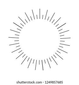 Starburst, sunrays. Set of hand drawn sunbursts on light background. Vintage vector elements.