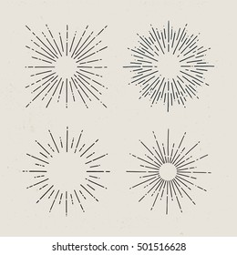 Starburst, sunrays. Set of hand drawn sunbursts on light background. Vintage vector elements.