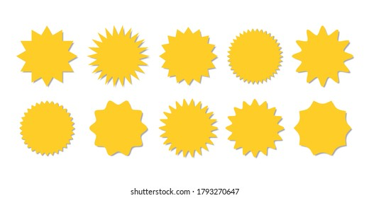 Starburst yellow sticker set - collection of special offer sale round shaped sunburst labels and badges isolated on white background. Circle stickers or buttons in form of star for promo advertising.