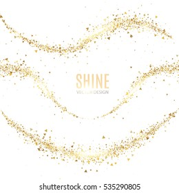 Stardust Collection. Gold Glitter Wave Set. Green Sparkles Abstract Background. Magic Fairy Dust. Glamour Design. Vector illustration