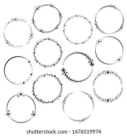 Stardust frames. Shiny star circle frame, starry glitter stamp and round magic twinkle stars trace. Shine stardust swirl, shining glowing halo for party decor. Isolated vector symbols set