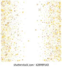 Stardust vector pattern. Cosmic abstract background with gold star elements. Astral vertical shining sparkles frame or border design with text place. Golden glitter confetti on white.