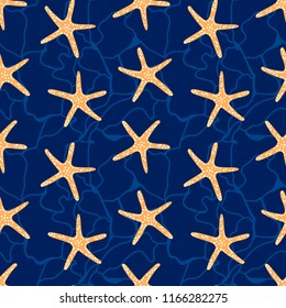 Starfish blue background. Seamless pattern with star fish. Underwater marine, beach life vector background.