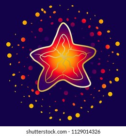 Starfish, bright flowers. Orange, red and blue colors illustration. With bright elements and particles on a dark blue background, with a golden stroke. Vector illustration.
