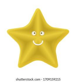 Starfish Cartoon Character. Cute Ocean Animal Mascot Icon Childrens Wallpaper