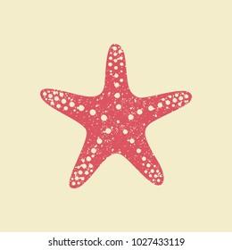 Starfish in flat style. Marine icon in cartoon style. Summer vector illustration.