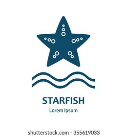 Starfish icon. Vector illustration. Starfish vector design template. Logo and emblem template for maritime companies. Starfish symbol.