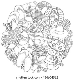 Starfish, lifebuoy, sunglasses, ball, flip-flops, hat, camera. Hand drawn set of summer doodles elements. Black and white. Coloring book page for adult and children. Beach shoes, doodles