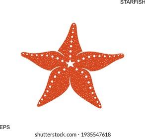 Starfish logo. Isolated starfish on white background