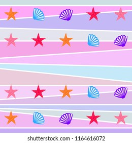 starfish shell sea vector background