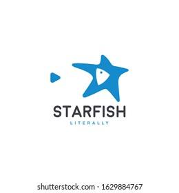 Starfish star and fish creative negative space logo design vector