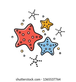 Starfish vector illustration. Sea stars in  cartoon style. Print design for summer clothes.