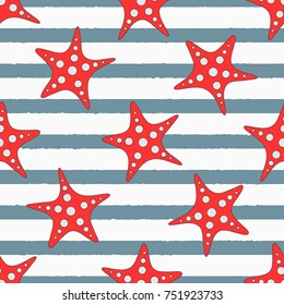 Starfishes on striped background. Cute sea seamless pattern. Vector illustration.