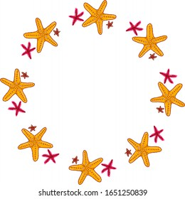 Starfishes on white background. Cute cartoon style. Vector circle frame. Design for holiday greeting card and invitation of seasonal summer holidays, summer beach parties, tourism and travel.