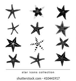 Starfishes set .hand drawn Vector Illustration