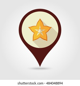 Starfruit Carambola Carom flat vector pin map icon. Map pointer. Map markers. Tropical fruit. Vector illustration, eps 10