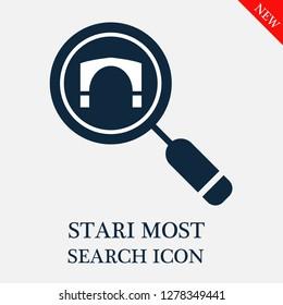 Stari most search icon. Editable Stari most search icon for web or mobile.