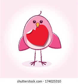 Staring Pink Love Bird Holding a Heart in it's Beak on a Glowing Background