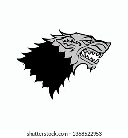 Starks symbol wolf head on white background. Wolf head. Game of Thrones logo. Vector illustration. EPS 10.