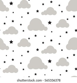 Starlight night sky seamless kid vector pattern. White background. Minimalist baby style textile fabric cartoon scandinavian ornament.