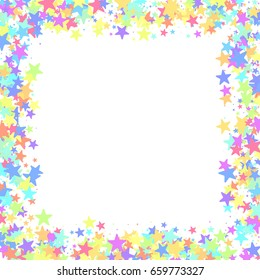 multicolored stars of confetti luxurious bright festive frame pink