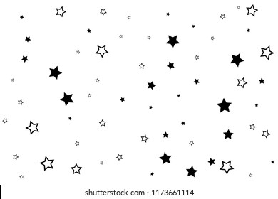 Starry background. Vector seamless pattern with stars. Monochrome horizontal texture. Swatch with sparkles for textile design.