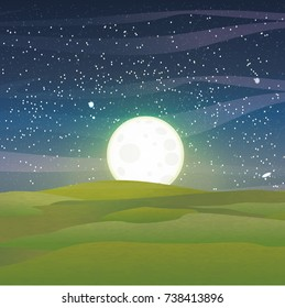 Starry blue sky, stars and meteorites, clouds over meadows with soft green grass.  A large full moon with craters. Majestic vector landscape can be used in newsletter, brochures, postcards, banner.