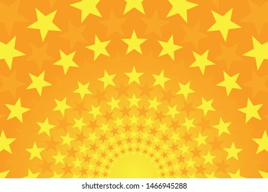 Starry bright yellow and orange comic background. Vector illustration.