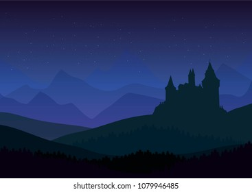 starry night over old castle and mountains silhouettes at the background vector landscape illustration