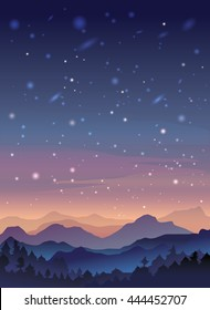 Starry Night Sky Mountain Landscape. Mountaineering and Traveling Vector Illustration.Vacation and Outdoor Recreation Concept.