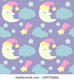 Starry night with sleepy moons. Cute children cartoon seamless pattern.